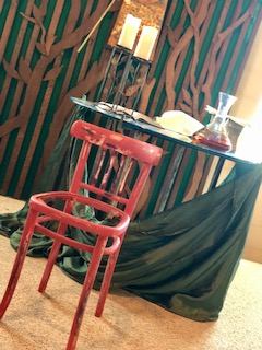 by heather krause no seat at the table is now on the altar at christus rex as a reminder to care for the marginalized in our midst